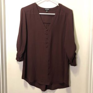 Express maroon chelsea popover blouse